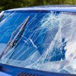 Cracked Windshield with wipers
